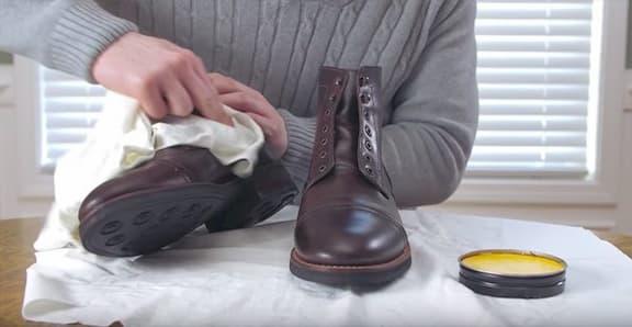 polishing leather boots