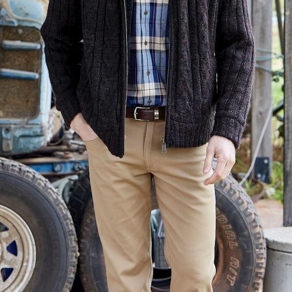 man wearing moleskin jeans with sweater