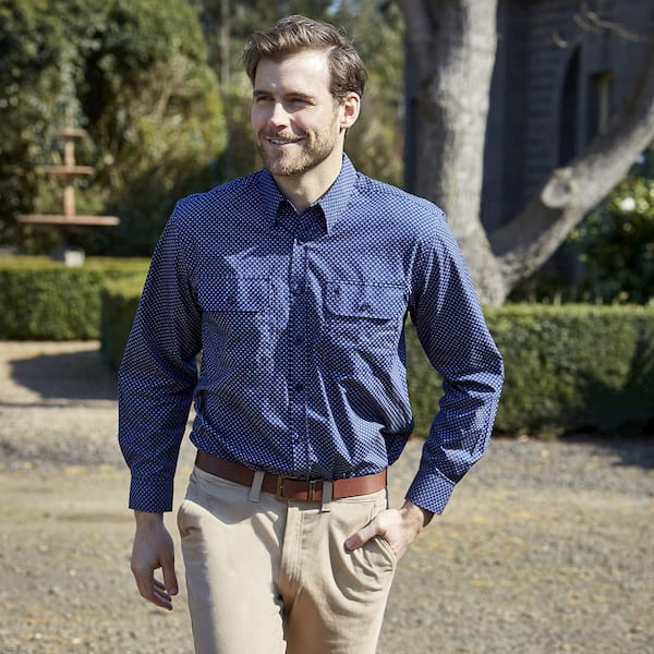 man wearing moleskin jeans with shirt