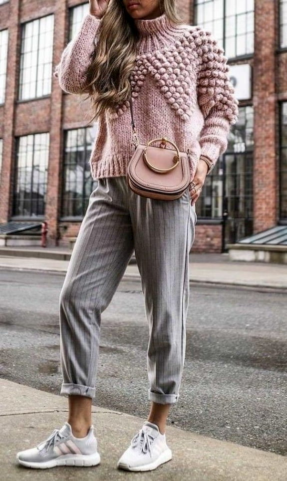 pink sweater with pink crossbody bag