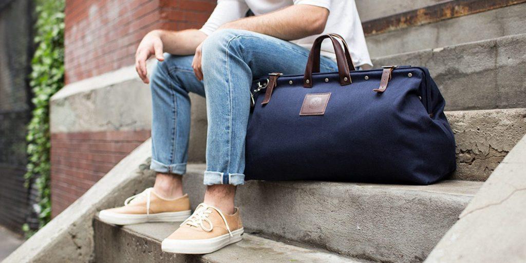 duffel bag on stairs