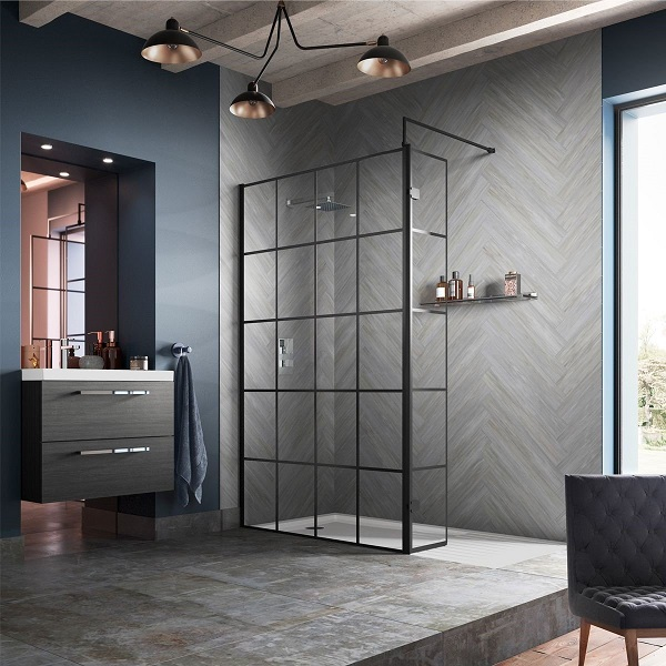 picture of a modern bathroom with walk-in shower unit
