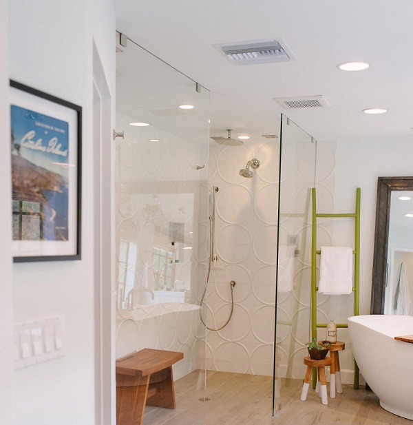 picture of a modern bathroom with a walk-in shower unit and a ventilation