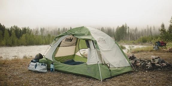 camping tent on lake