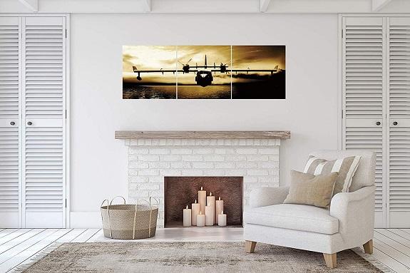 Canvas art print above fireplace