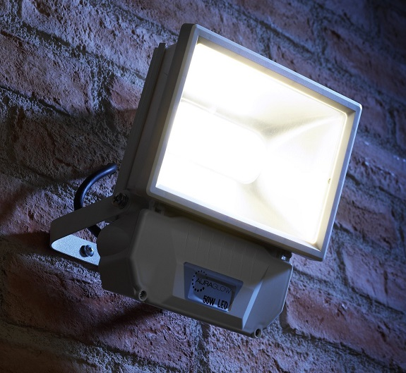 LED floodlight mounted on brick wall