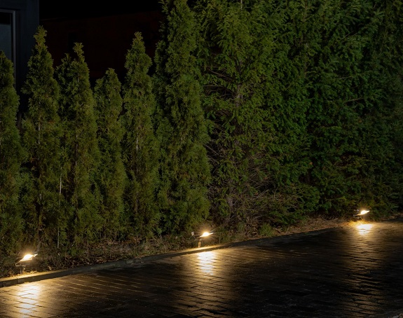LED floodlights outside at night